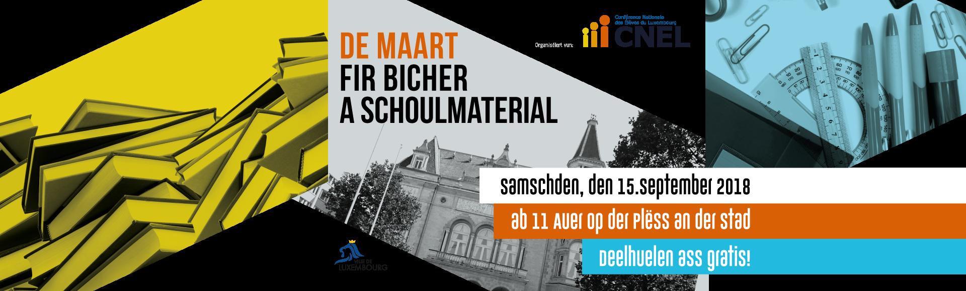 De Maart fir Bicher a Schoulmaterial