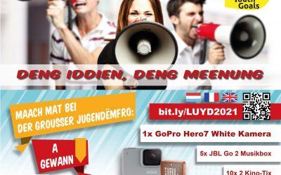 Jugendëmfro 2021: Deng Meenung zielt!  Maach mat bis den 18.04.!